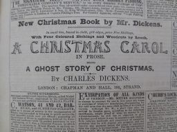 An 1843 advertisement for A Christmas Carol