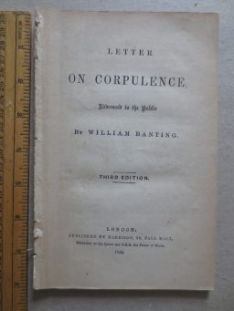 Banting on Corpulence, a dieting book for the 1860s